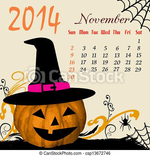 Calendar para el noviembre de 2014 - csp13672746