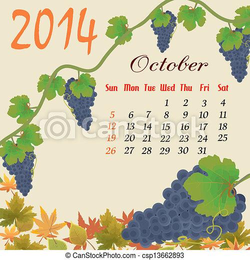 Calendario para 2014 octubre - csp13662893