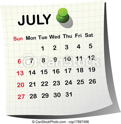 Calendario de papel 2014 para julio - csp17897496