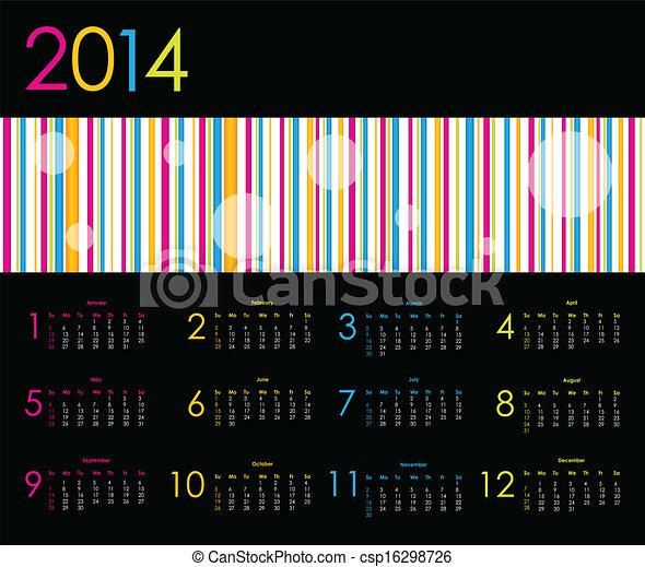 El calendario del vector para 2014 - csp16298726