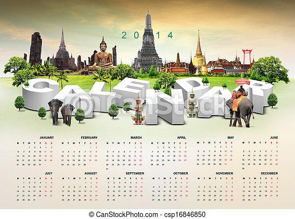 Calendario 2014 sobre antecedentes de viaje - csp16846850