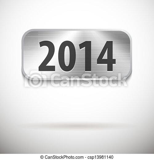 2014 digits on brushed metal tablet - csp13981140