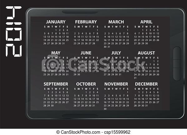 Illustration Of 2014 Electronic Calendar