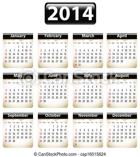 2014 English calendar - csp16015624