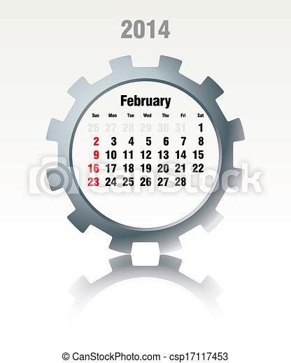 Febrero 2014, calendario - csp17117453