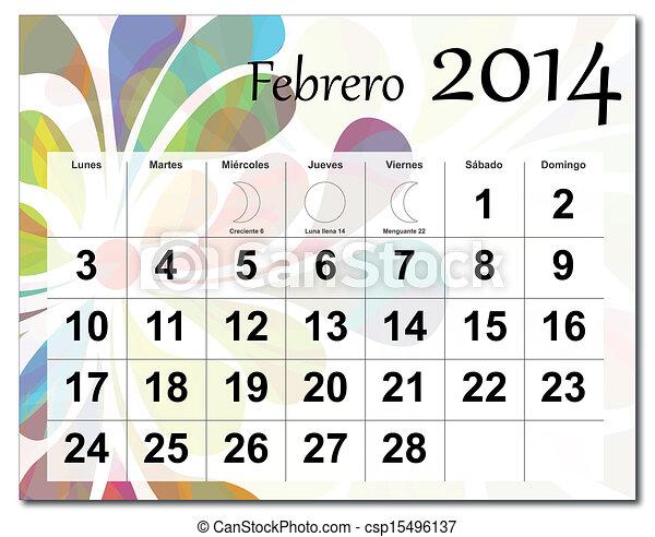 Calendario de febrero de 2014 - csp15496137