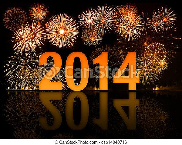 2014 años de celebración con fuegos artificiales - csp14040716