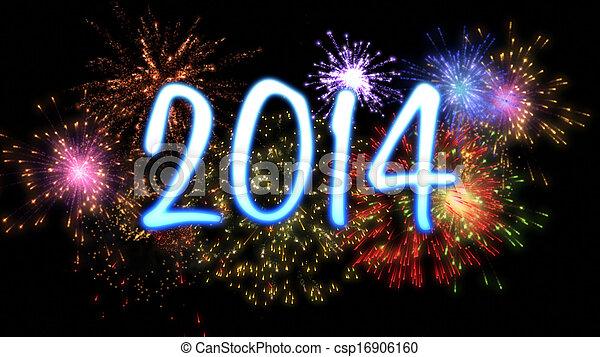 Año Nuevo Neon 2014 con fuegos artificiales - csp16906160