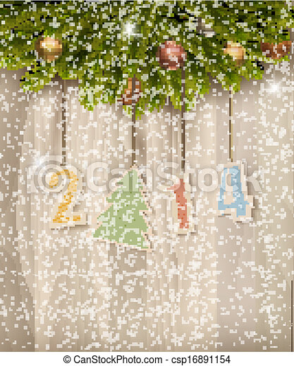 2014 Happy New Year background. Vector - csp16891154