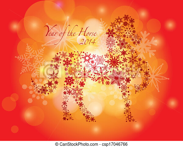 2014 Happy New Year of the Horse with Snowflakes Pattern - csp17046766