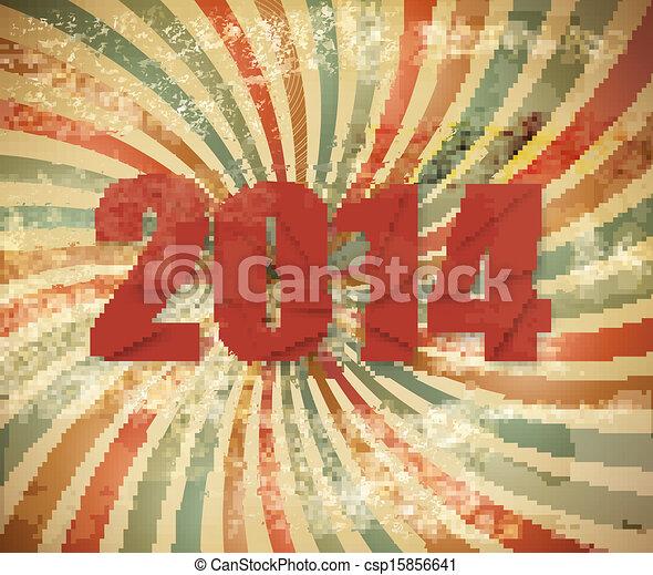 2014 Happy New Year retro background. Vector. - csp15856641