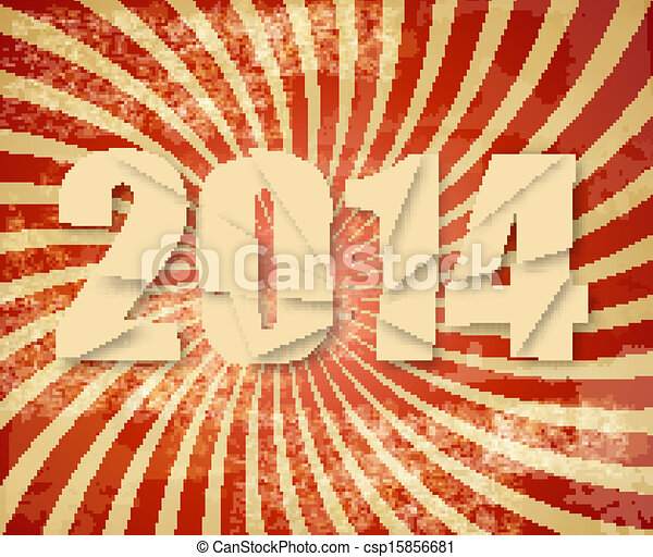 2014 Happy New Year retro background. Vector. - csp15856681