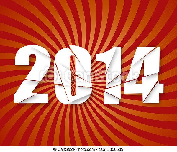 2014 Happy New Year retro background. Vector. - csp15856689