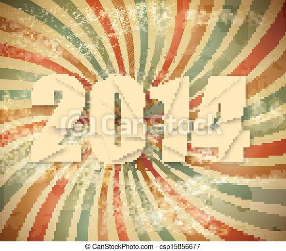 2014 Happy New Year retro background. Vector. - csp15856677