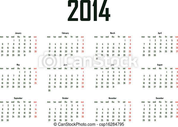 2014, kalender - csp16284795