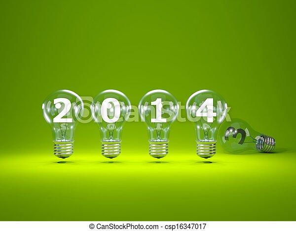 2014 New Year sign inside light bulbs - csp16347017