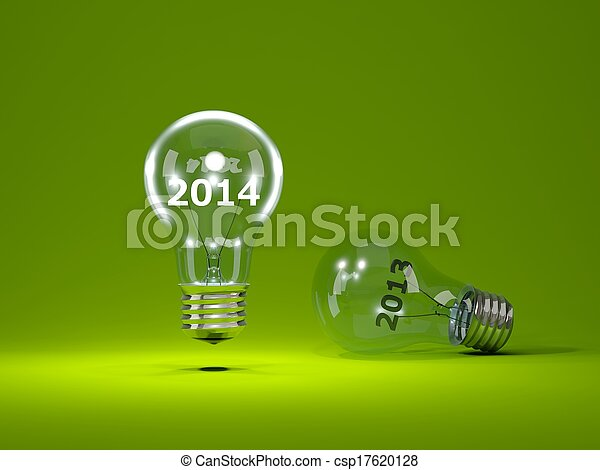 2014 New Year sign inside light bulbs - csp17620128