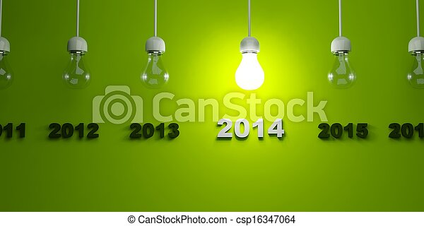 2014 New Year sign with light bulb - csp16347064