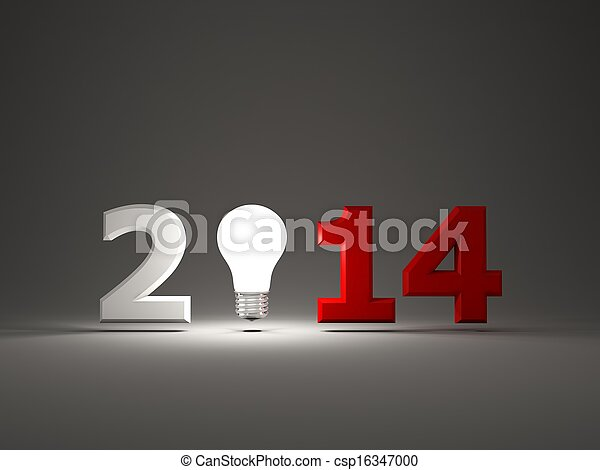 2014 New Year sign with light bulb - csp16347000