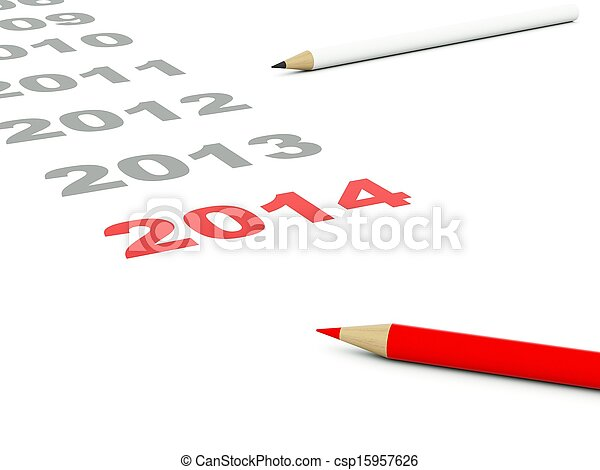 2014 New Year sign with pencils - csp15957626