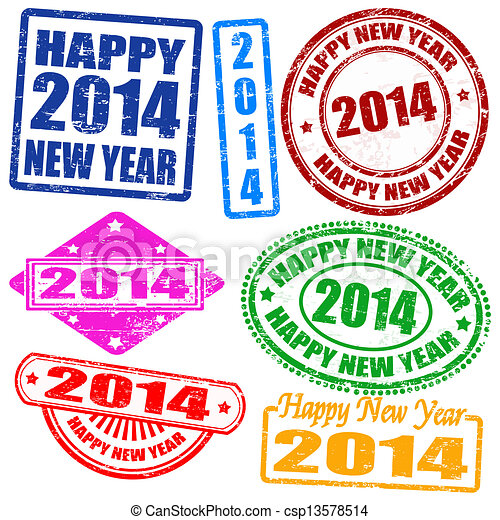 2014 new year stamps - csp13578514