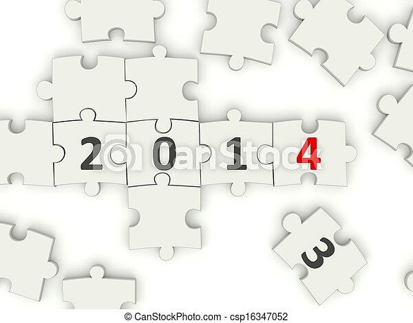2014 New year symbol on puzzle - csp16347052