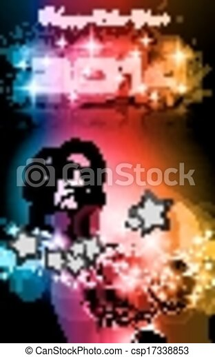 2014 new years party background for club flyers attractive design with rainbow colours