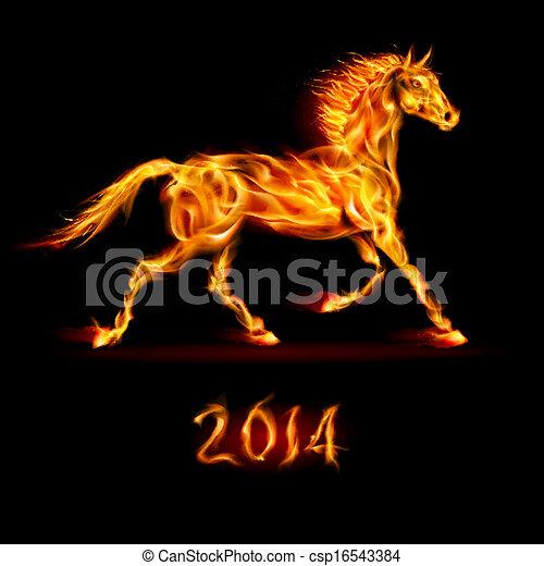 2014:, nuovo, horse., fuoco, anno - csp16543384
