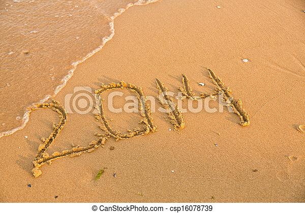 2014 números en la playa de arena amarilla - csp16078739
