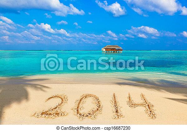 Números 2014 en la playa - csp16687230