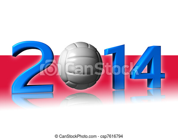 2014 volley design with poland flag - csp7616794