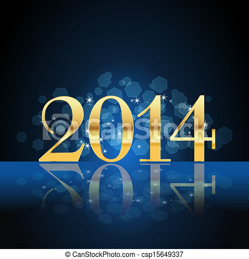 2014 year card gold on blue - csp15649337