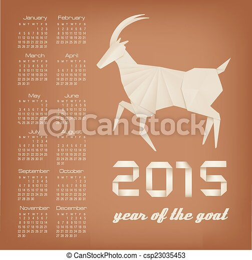 2015 años de calendario de cabras. Vector. - csp23035453