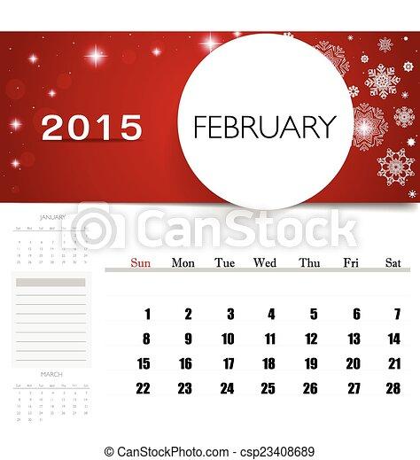 2015 Calendar Monthly Calendar Template For February Vector