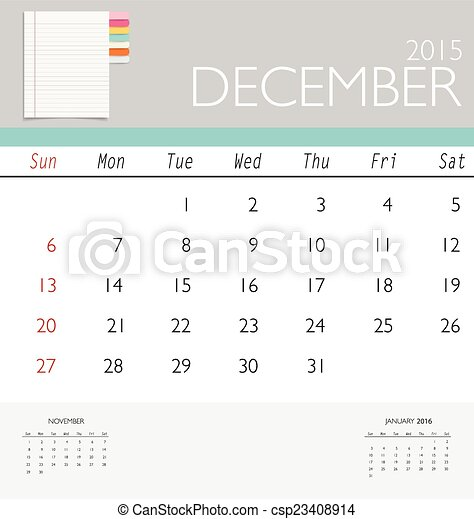 2015 Calendar Monthly Calendar Template For December Vector