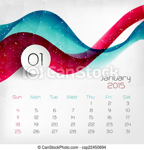 2015, calendar., vector, january., illustratie - csp22450694