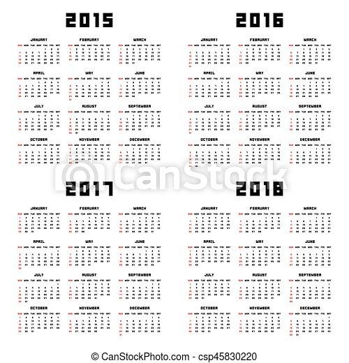 Calendario 2015 2016 2017 2018 - csp45830220