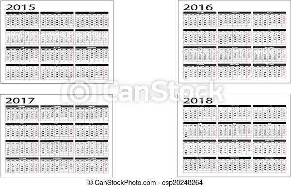 Calendario 2015 a 2018 - csp20248264