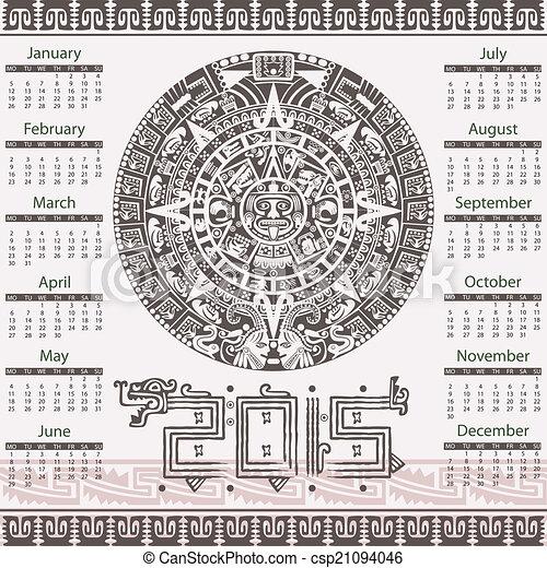 Calendario Azteca Vectores.2015 Calendario Azteca