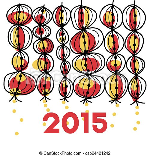 2015 chinese new year hand drawing lantern vector - When Is Chinese New Year 2015