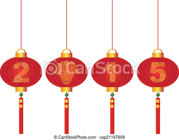 2015 Chinese New Year of the Goat Lanterns Illustration - csp21197609