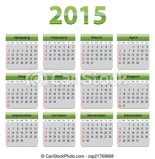2015 English calendar - csp21769668