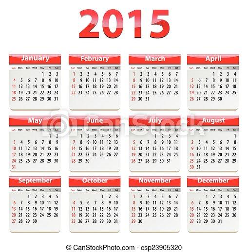 2015 English calendar - csp23905320