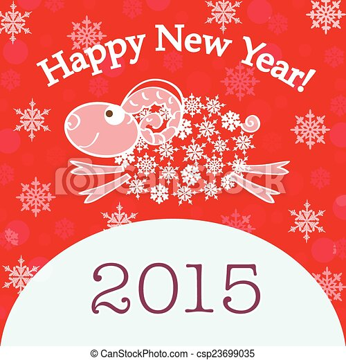 2015 new year card with red sheep csp23699035