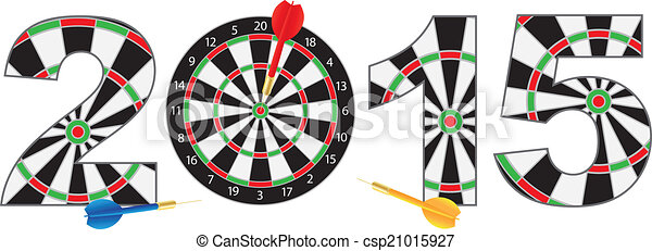 2015 New Year Number Outline Dartboard - csp21015927