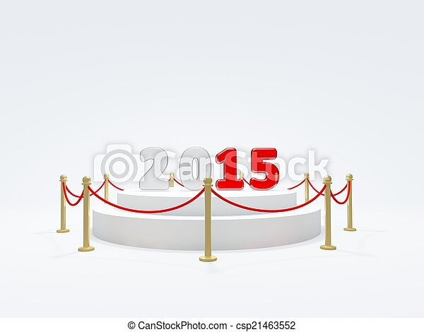 2015 New Year symbol on podium - csp21463552