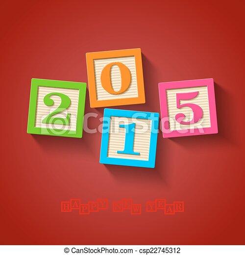 2015, nouveau, heureux, carte, année - csp22745312