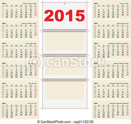 2015 Quarterly Calendar Template Illustration In Vector Vector