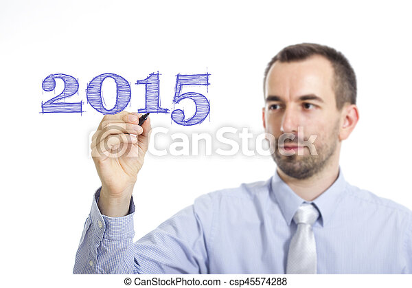 2015 - Young businessman writing blue text on transparent surface - csp45574288