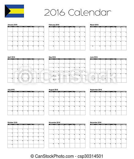 2016 Calendar with the Flag of Bahamas - csp30314501